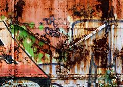 Railroad Box Car Rust & Grafitti (J Wells S) Tags: boxcar railroad train rust rusty crusty junk graffiti csx traincardoor queensgate cincinnati ohio