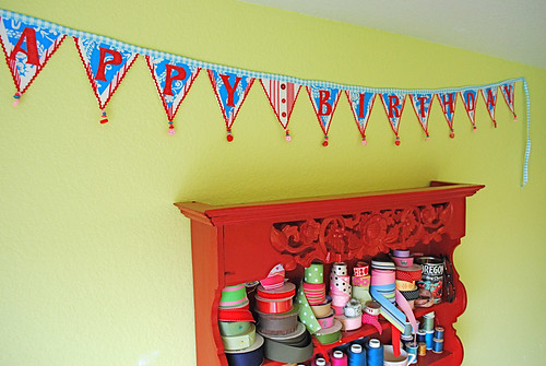 Birthday Banner and cabinet