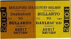 Ticket - Daytlesford SPA Country Railway (Alco961) Tags: tickets melbourne themet sta murraybridge cityrail transadelaide