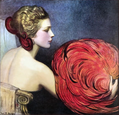1923 Life cover illustration by W T Benda retouched (newmexico51) Tags: life 1920s woman art illustration magazine fan mujer feather hairdo bow deco hairstyle retouched benda wtbenda