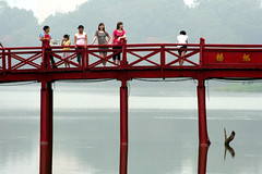 Hoan Kiem lake  Hanoi (Jules1405) Tags: world travel bridge red people lake women asia vietnamese lac vietnam asie hanoi hoan kiem reflectionsoflife vietnamien lovelyphoto jules1405 unseenasia