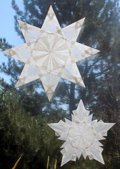 Two White Stars - Winter and Christmas Decorations (Pictures by Ann) Tags: christmas winter white holiday art ice home window modern paper snowflakes star origami natural contemporary waldorf decoration inspired craft mandala hobby clear wintersolstice translucent folded etsy decor pure alternative sustainable updated ecofriendly mandalas womanmade sheteam harvestmoonbyhand sheetsyteam alternativetopapersnowflakes