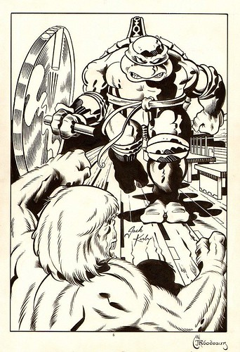 "Turtle Soup #4 pg.20 ..art by Thibodeaux & JACK KIRBY from the story ""TEENAGE MUTANT NINJA TURTLE"" by Mark Thibodeaux & Guy Romano  [[ Mike v. Troll // INKS ]]  (( 1992 ))"