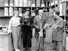 Motion picture scene (1916) (State Library and Archives of Florida) Tags: costumes woman men actors florida jacksonville bobbyburns houndstooth 1916 actresses motionpictures tophats statelibraryandarchivesofflorida vimcomedycompany ethelburton ethelburtonpalmer walterstull