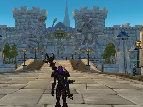 Stormwind Cathedral from just inside the city walls