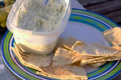 grilled pita wedges, tzaziki
