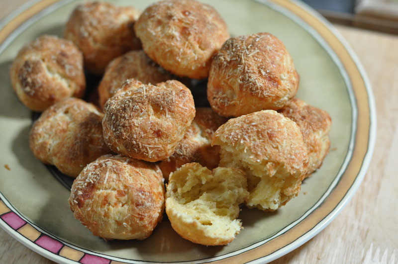 gougeres plated
