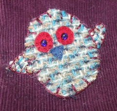 Owl applique for business card wallet