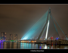 My Favourite Bridge (DolliaSH) Tags: city longexposure bridge light people urban haven holland color water colors architecture night canon reflections river puente photography lights noche photo rotterdam bravo europe foto nightshot photos nacht harbour nederland thenetherlands wideangle ponte most le pont brug maas brcke ultrawide nuit kopvanzuid 1022mm notte hdr stad noch zuidholland brucke erasmusbridge southholland photomatix nachtopname canoneos50d detailsenhancer theunforgettablepictures dollia dollias sheombar ersmusbrug dolliash