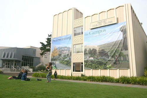 A new banner shows the future site of the Center for Science and Innovation.  Melissa Stihl/Foghorn