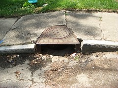 broken sidewalk and drain (photo courtesy of AIA)
