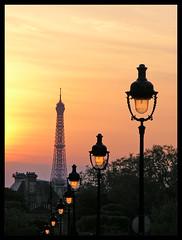 Sunset in Paris 3 (Romeodesign) Tags: street sunset paris france tower lights eiffel lamps breathtaking colorphotoaward breathtakinggoldaward breathtakinghalloffame