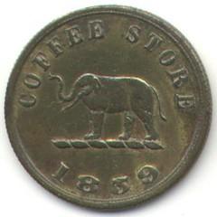 1859 Scott Coffee token, Ceylon (reverse)