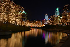 Downtown Omaha Skyline Decked out for Christmas (laughlinc) Tags: christmas city urban reflection skyline night downtown omaha geneleahymall nikond80 thechallengefactory laughlinc