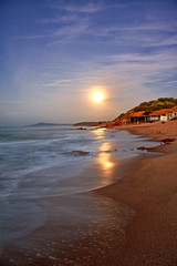 moon reflection (Mohamed Aouichi) Tags: blue light sea sky panorama moon mountain motion blur nature water sepia clouds canon landscape sand superb tunisia tunis hdr tunisie tabarka sensation naturesfinest saveearth canon450d 1855is