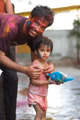 friends.. (bavan.prashant) Tags: blue red india water girl yellow festival kid raw colours child play innocent hyderabad holi firends festivalofcolours
