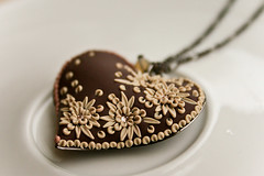 the cream in my coffee pendant (Chili Crab) Tags: flowers autumn brown leaves silver one beads chili heart crystal handmade ooak crab jewelry creme kind fimo clay romantic swarovski etsy elegant 2009 pendant filigree polymer bej