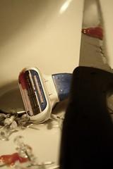 22/365. (ℓεℓα) Tags: blue red white black silver blood sink cut knife shaving cutting thumb cutter cuts thumbtacks tacks razor