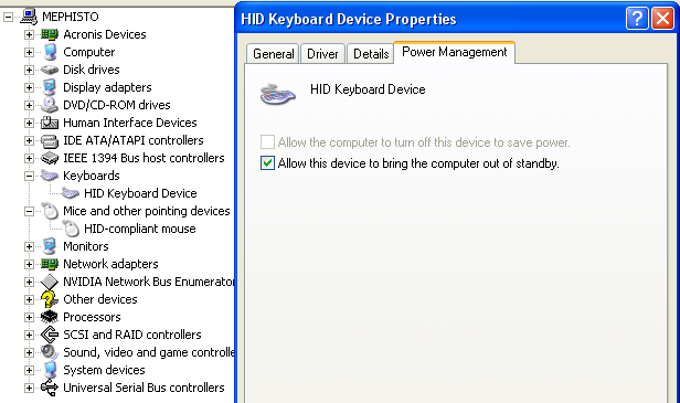 Windows XP input device power management