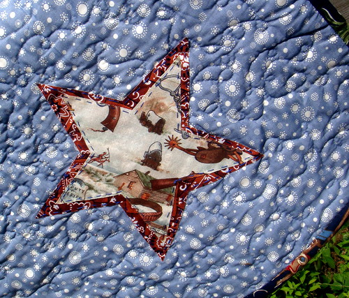 cowboy quilt backside star detail