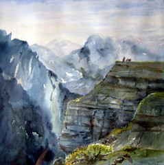 Watercolour: ...Meditation...On the Top...with the bike (Nadia Minic) Tags: mountains bike landscape aquarelle berge moto watercolour luxembourg paysage landschaft montagnes motorrad lenningen nadiaminic nadiaart
