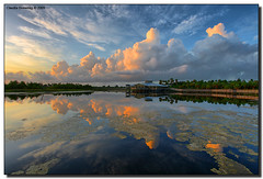 Peaceful Morning (Fraggle Red) Tags: morning pink blue nature yellow clouds sunrise reflections dawn florida wetlands boardwalk jpeg canonef1740mmf4lusm hdr boyntonbeach naturecenter 3exp greencaywetlands hdrqueen dphdr palmbeachco perfectescapes