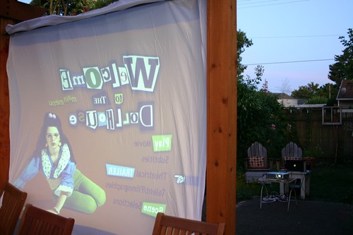 Movie projected in the garden
