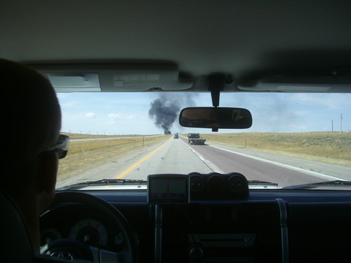 Burning truck on I-80