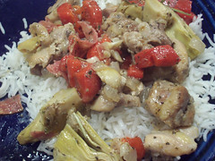 Artichoke & Salami Chicken over rice