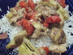 Artichoke & Salami Chicken over rice