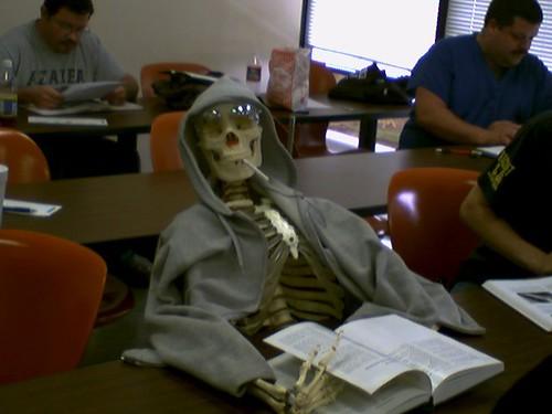 skeleton in library