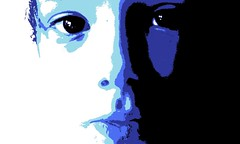 kevin portrait (Derek R Brumby) Tags: blue light boy portrait white abstract black color art face modern night composition ink computer dark hair poster nose kid eyes paint day shadows child brother expression contemporary fine young formal pop lips popart expressionism posterized symetrical posterize asymetrical ballance
