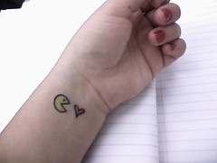 eat up some love (cupcakemuffinhead) Tags: love doodle pacman wrist mathclass