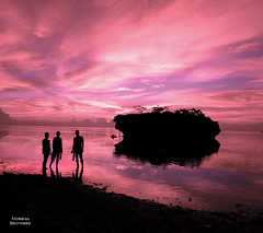 The Horizon of Hope (Tomasito.!) Tags: ocean pink trees boy sunset sea portrait sky people sun 3 man black male tourism beach beautiful silhouette rock clouds photoshop reflections hope amazing sand nikon shadows brothers horizon philippines grand filter redsky batangas touristspot waterscape cs4 beautifulsky tomasito nikone5700