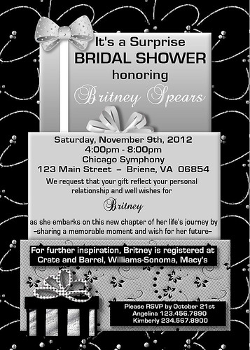 #C83,Custom,personalized,baby,shower,invitations,invites,pink,blue,boy,girl,black,white,silver,gray,boxes,bows,wedding,bridal,ribbon,black,scroll  por www.collagebycollins.com 3.