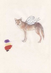 wolf with the moth wings (ayco311) Tags: animal pencil wolf drawing pastel wing oldpaper