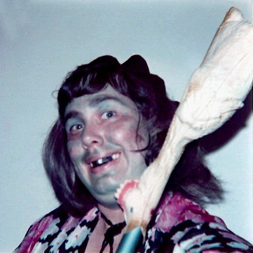 Me as a Hillbilly Witch with Rubber Chicken on My Broom - 1976