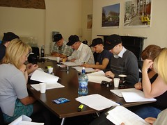 Aine, Rick, Sean Paul, Bodo, David, Grainne, Annelie at the table read