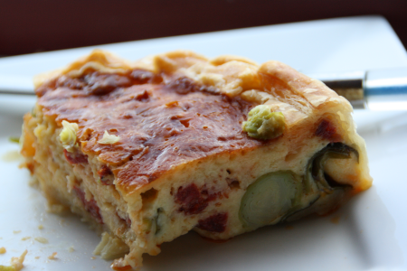Brussel sprout & chorizo quiche