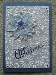Blue velum star on parchment CB bg on Dk Blue (Gregelope) Tags: christmas winter snow colour beautiful silver cards frost handmade parchment craftsmanship papercraft embossing craftwork cuttlebug