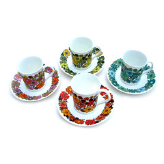 "Elizabethan ""Portobello"" cups and saucers (Wooden donkey) Tags: coffee vintage ceramic tea retro cans porcelain flowerpower bonechina"