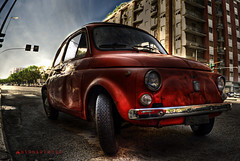 MITICA FIAT 500 (Antoniologic  http://www.antonioleo.it/) Tags: old color car photo nikon automobile flickr italia dof leo fiat decay perspective 500 elegant dust antonio asfalto rosso 2009 hdr decayed oggetti autodepoca fiat500 2010 citt ruggine ferro distrutto oxide polvere sunligth explor degrado esplora delerict nikond80 1855nikkor ossido lucesolare posteffects grandangolari obgect antoniologic delericy photographicworks antonioleoit httpwwwantonioleoit
