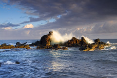 Ho'okipa Beach Rockpile (Ivan Sohrakoff) Tags: beach clouds sunrise landscape photography hawaii rocks surf waves maui hookipa