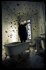 De Mysteriis (Midnight - digital) Tags: abandoned strange mystery butterfly bathroom weird mask decay surrealism dream surreal atmosphere eerie creepy spooky urbanexploration mysterious bathtub nightmare cinematic enigmatic urbex davidlynchismymaster