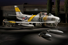 F-86 Sabre (Eric Curry) Tags: light lightpainting men beautiful museum digital canon vintage painting photography photo amazing eric with time masculine jets working curry retro american paintingwithlight restored americana restoration unusual trick fighters pilots airmuseum fueltank exposures multipleexposures f86 pwl crewmembers fueltanks ww11 multiexposures nighphotography vintagejets wingtanks ericcurry americanjets earlyjets koreanjets