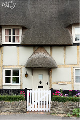 Chocolate Box Cottage Door (Kitty W) Tags: village cottage thatchedroof frontdoor whitegate thatchedcottage chocolateboxcottage chocolateboxcottagedoor