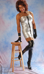 Silver Minidress, Gloves & Boots (kaceycd) Tags: highheels tgirl transvestite crossdress spandex lycra tg thighboots highheelboots longgloves