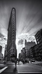 The Edges of the Flatiron Building (Stuck in Customs) Tags: newyork newyorkcity hdr flatiron stuckincustoms trey ratcliff stuck customs blog photography high dynamic range digital imaging travelblog nikon d3x black white blackwhite travel north america united states usa east coast northeast new york city nyc edges building architecture design intersection pedestrian clouds sky street odd unique singular landmark icon fuller fifth avenue 5th manhattan skyscraper historic 23rd broadway madison square district beauxarts beaux arts chicago school structure november 2009