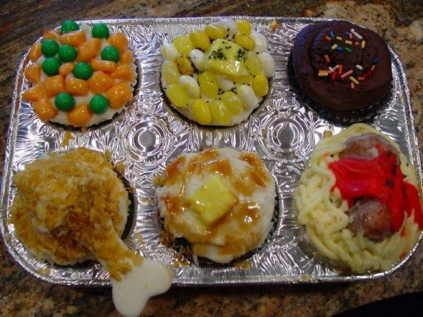 April Fool's Day TV dinner cupcakes