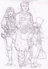Fantasy Detectives - A team of fantasy detectives. From left to right we have the assassin, the backroom boy and then the detective master mind.  He's got Faery blood you know…